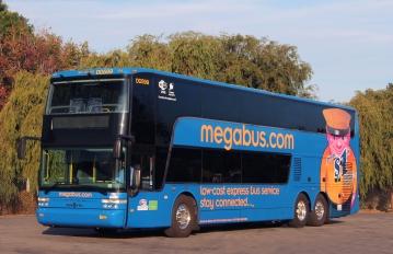 Left side view of a megabus