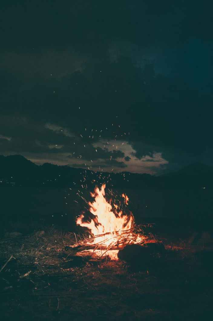 bonfire burning camp campfire